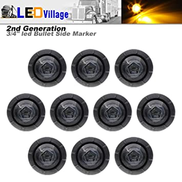Side Led Marker for Truck Boat SUV ATV Bike Trailer Marine Ledvillage 10 Pcs 2nd Generation 3//4 Inch Mount White LED Bullet Marker Lights