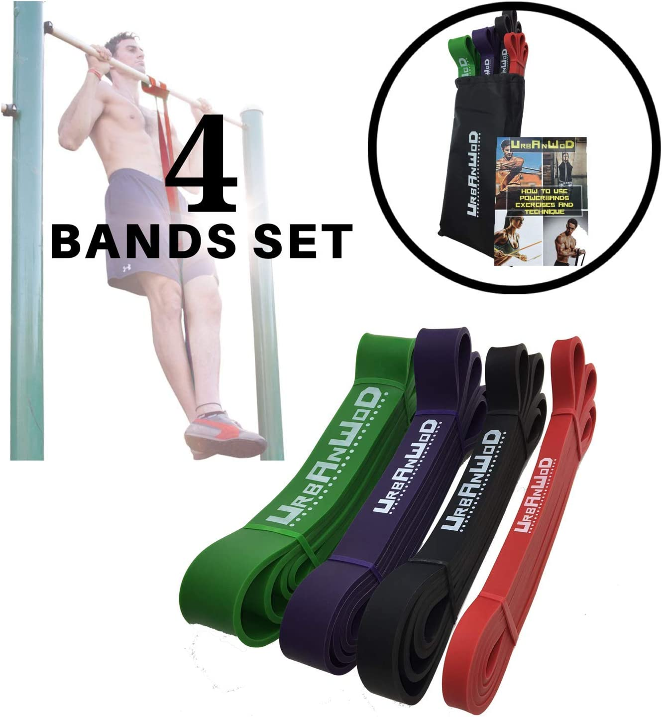 Inspo Life Resistance Bands Exercise Loops for Fitness with Carry Bag Set of 5