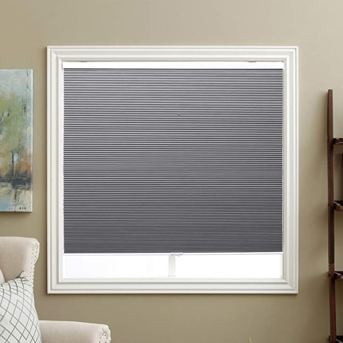 "SBARTAR Cordless Cellular Shades Blackout Honeycomb Blinds Fabric Window Shades 35"" W x 64"" H, Cool Silver(Blackout)"