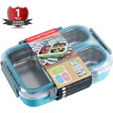 Tartek Kitchen Leak-proof Bento Lunch Box - Versatile Food Container with 3 Stainless Steel Compartments - Perfect for Kids & Adults - Portion Control - Dishwasher & Microwave Safe - BPA free