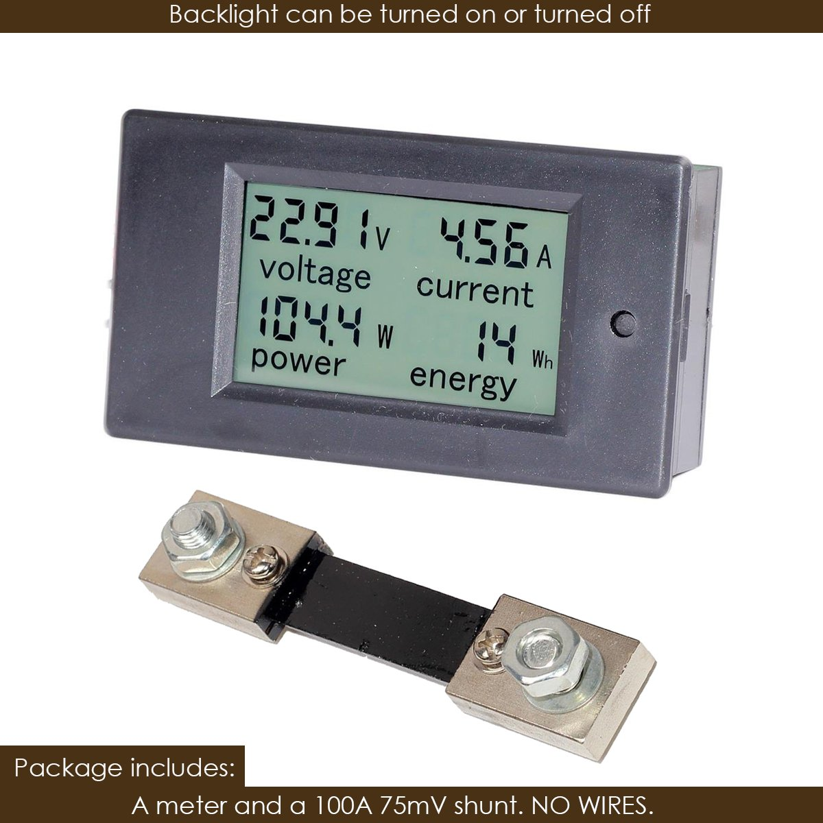 Bayite Dc 65 100v 0 100a Lcd Display Digital Current Voltage Power Voltmeter Ammeter Panel Energy Meter Multimeter With Shunt Pzem 101