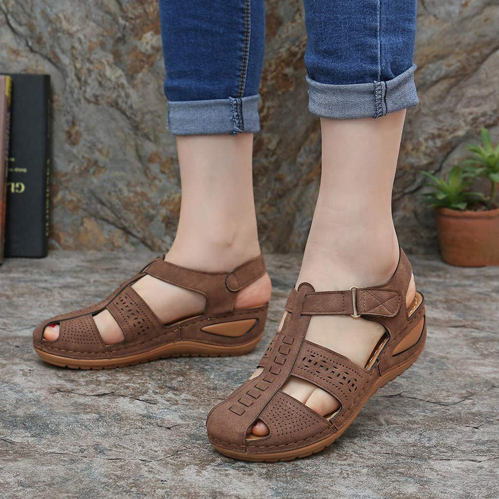 Sunhusing Beach Sandals Womens Hollow Breathable Round Toe Wedge Flat Slipper Sandals Summer Casual Rome Shoes