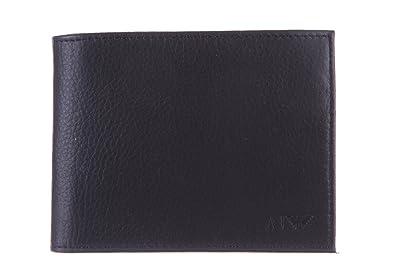 Armani Jeans monedero cartera de hombre en piel nuevo negro ...