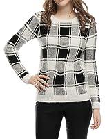 Allegra K Women's Plaids Round Neck Long Sleeves Fuzzy Sweater