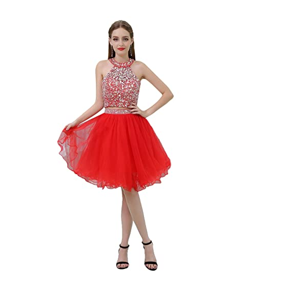 BessWedding Womens 2 Pieces Rhine Stone Prom Homecoming Dress Short Party Gown