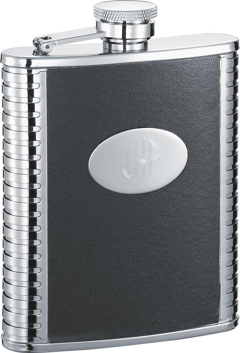 人気アイテム Personalizedブラックレザーとステンレススチールフラスコ、無料刻印   B01M1S3HAD, セトウチチョウ 00833336