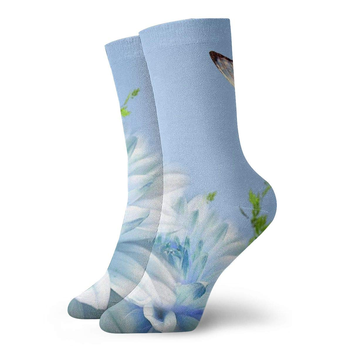 WEEDKEYCAT Flying Blue Flower Butterfly Adult Short Socks Cotton Cool Socks for Mens Womens Yoga Hiking Cycling Running Soccer Sports