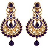 I Jewels Traditional Gold Plated Elegantly Handcrafted Kundan & Stone Earrings for Women E2271BL (Blue)