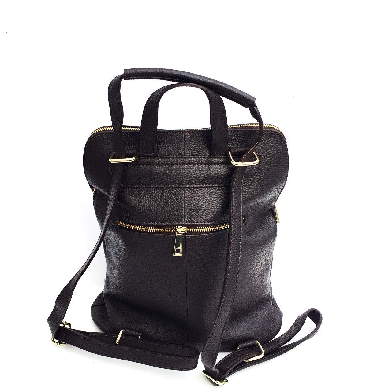 Superflybags handväska modell Caltanisetta superflybags axelväska eller ryggsäck i äkta läder tillverkad i Italien Mörkbrun