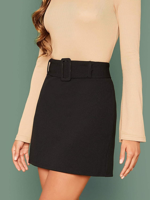 Verdusa Womens Elegant High Waist Belted A Line Mini Skirt