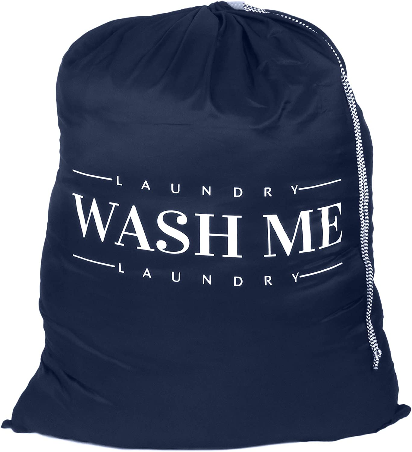 Oussum Travel Laundry Bag Dirty Laundry Bags Heavy Duty Polyester Laundry Bag Machine Washable Large Dirty Clothes Organizer with Backpack Drawstring (Navy Blue-Wash Me)