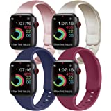 [Pack 4] Compatible with Apple Watch Bands 40mm 38mm for Women Men, Soft Silicone Bands Compatible with iWatch Series 6…