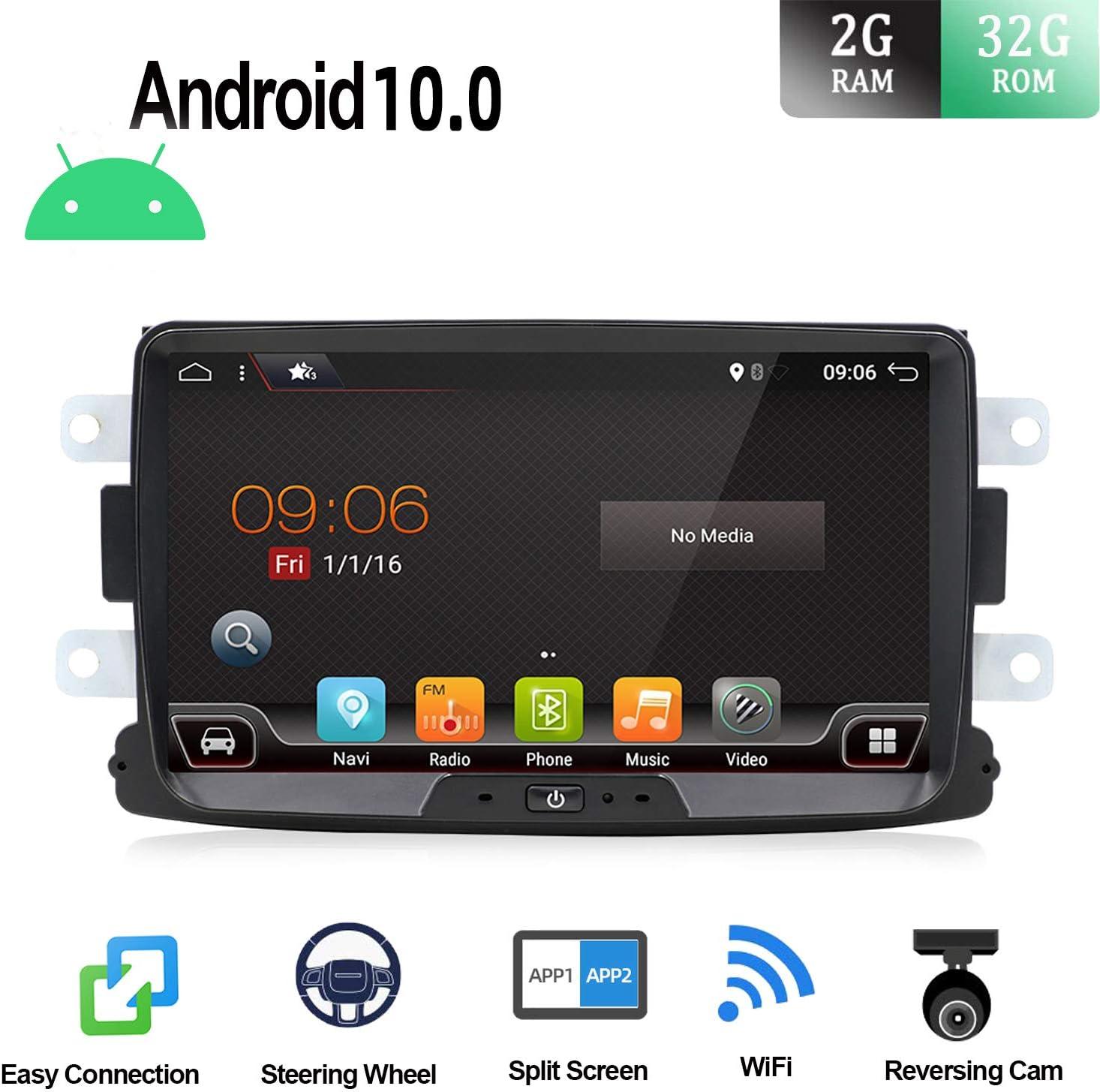 Android 9.0 Autoradio 1 Din Car Stereo Compatible para Renault Duster/Dacia Sandero/Lada Xray 2/Renault Captur/Logan Coche Navegacion GPS | 8 pulgadas 2G+32G Octa Core | LIBRE Cámara trasera & Can