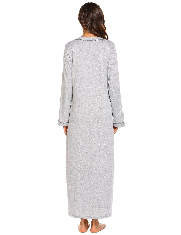 e2b721582d Adoeve Long Sleeve Nightshirt Womens Nightgown Full Length V Neck  Loungewear Zipper Robe S-XXL at Amazon Women s Clothing store