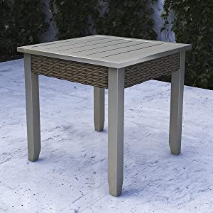 """LOKATSE HOME 22.5"""" Metal Outdoor Side End Table for Patio Dining Square, Dark Grey"""
