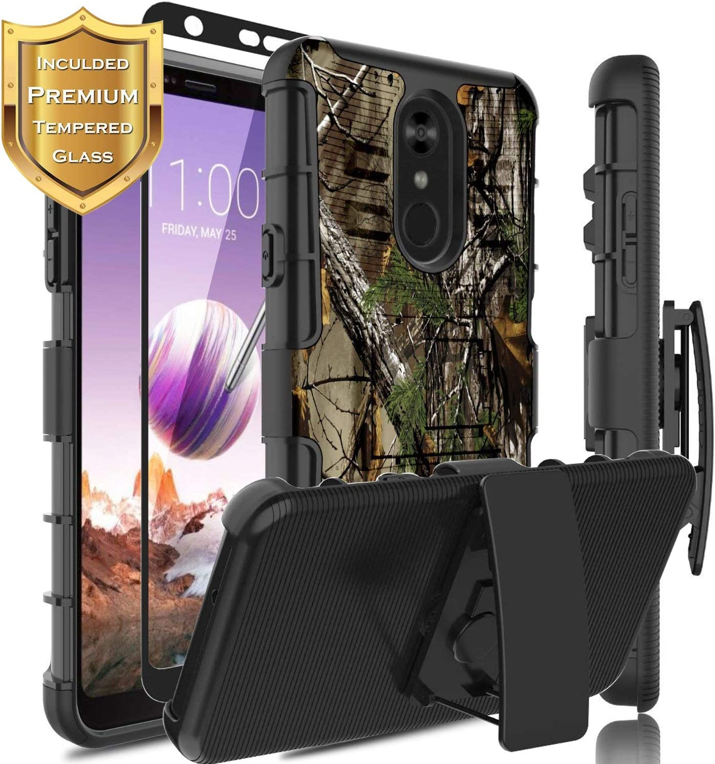 LG Stylo 4 Case [with Full Coverage Screen Protector],LG Stylo 4 Case,LG Q Stylus Plus Case W/[Built-in Kickstand],Shock-Absorbing Holster Heavy Duty Protective Swivel Belt Clip Phone Cover (Camo)