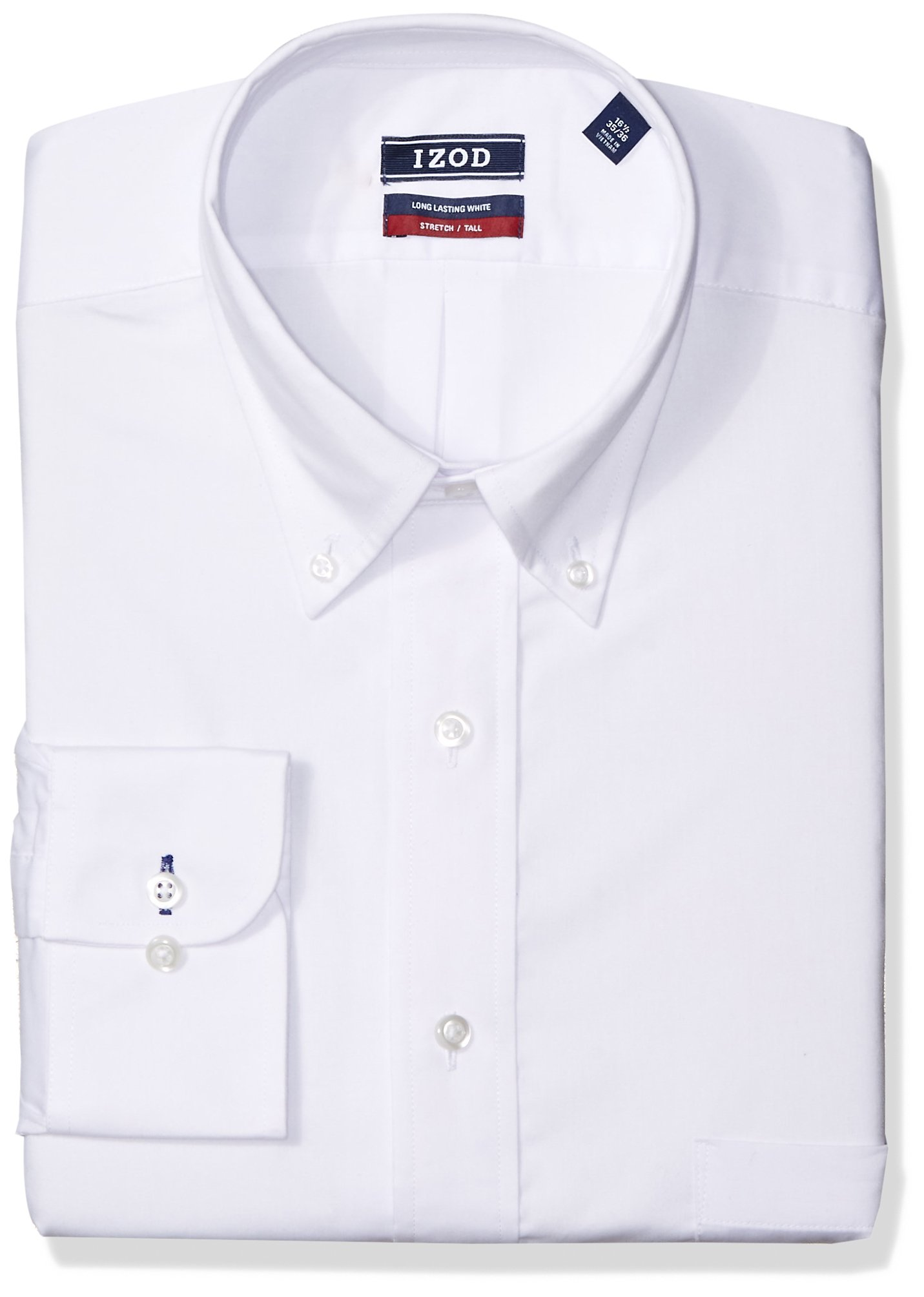 IZOD Men's Big and Tall Dress Shirts Stretch Fit Solid, White, 20'' Neck 35-36'' Sleeve