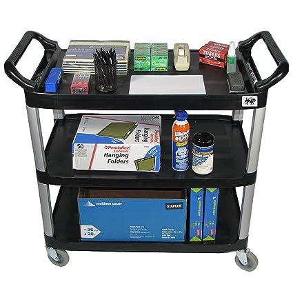 Gentil Rolling Office Utility Cart, Crayata OSC3LG Supply And Storage Cart, Mobile  3 Shelf Transport