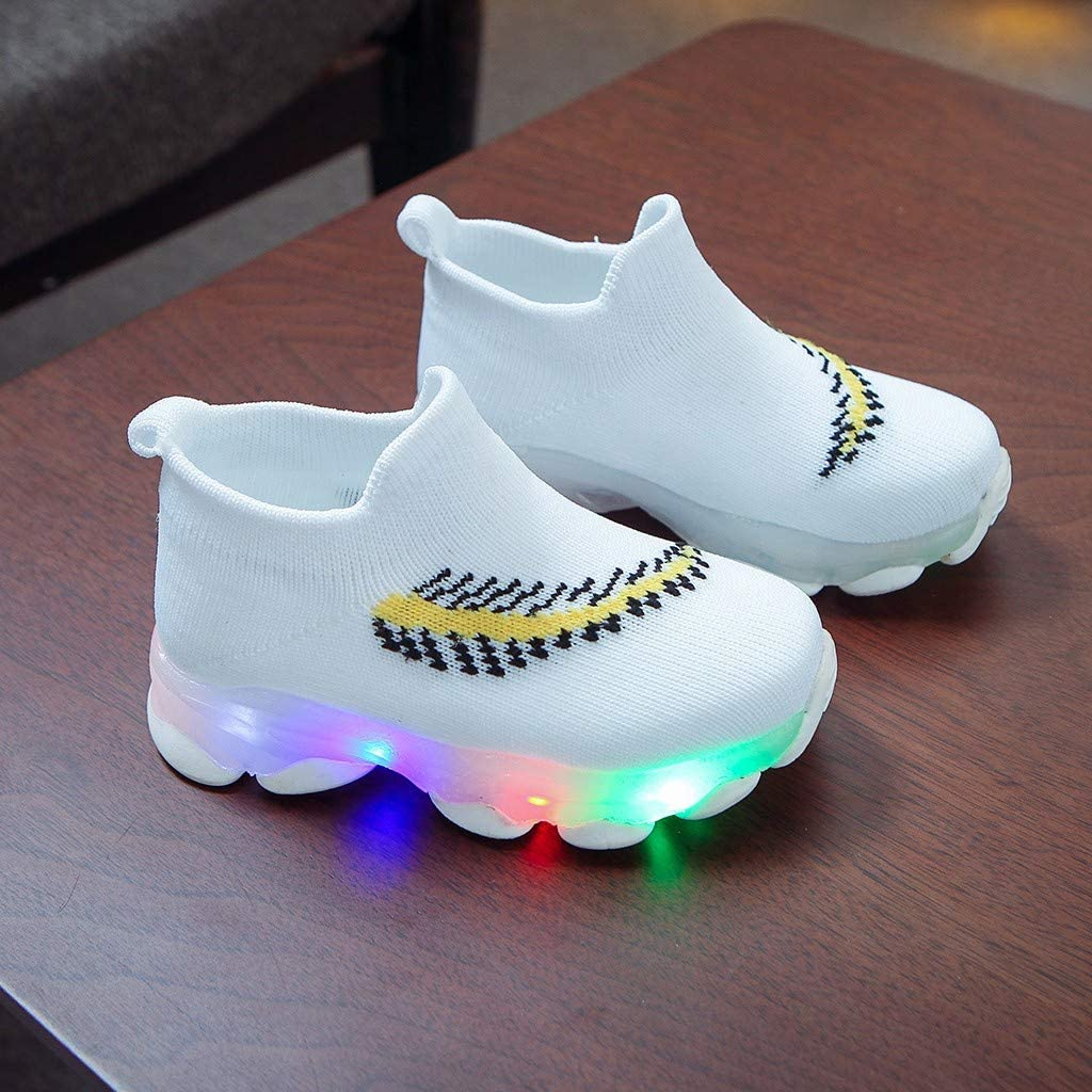 Toddler Light up Shoes Baby Boy Girl LED Shoes Slip-On High Top Active Sneaker