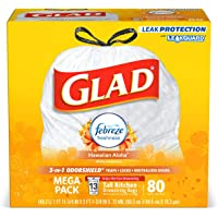 80-Count Glad 13-Gallon OdorShield Tall Kitchen Drawstring Trash Bags