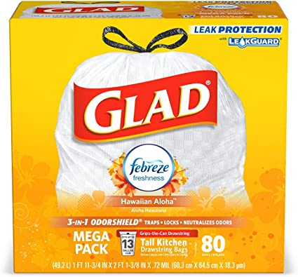 Glad Tall Kitchen Drawstring Trash Bags - OdorShield 13 Gallon White Trash Bag, Febreze Hawaiian Aloha - 80 Count