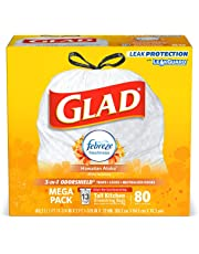 Glad Tall Kitchen Drawstring Trash Bags - OdorShield 13 Gallon White Trash Bag, Febreze Hawaiian Aloha - 80 Count