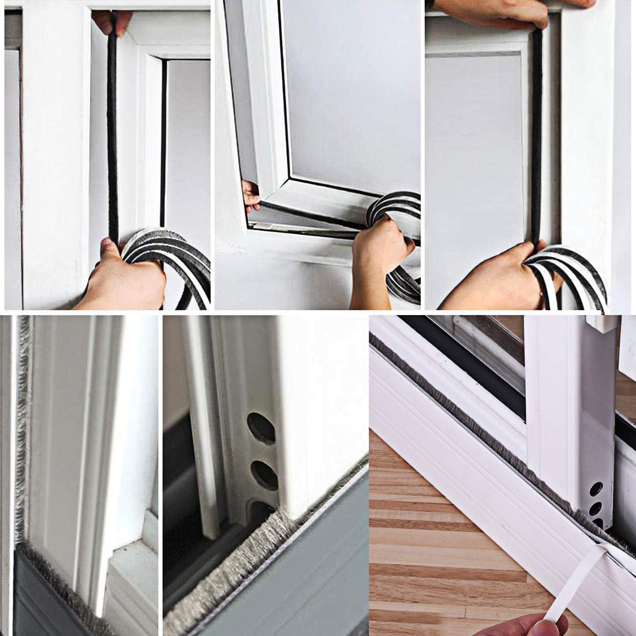 Sellado de cepillo autoadhesivo Burlete 4.9 m (L) x 9 mm (W) x 5 mm (T) Tapón de aire de tiro Aire de alta densidad Excéntrico para puertas correderas Ventana y armario -