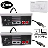 Mekela 2 Packs 5.8 feet Classic USB wired Controller for NES Gaming, Retro Game Pad Joystick Raspberry Pi Gamepad for Windows PC Mac Linux RetroPie NES Emulators (Gray and Gray)