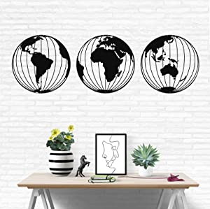 "Metal World Map Wall Art, 3 Metal World Map Globes, Metal Wall Decor, Home Office Decoration, Wall Hangings (15"" x 15"")"