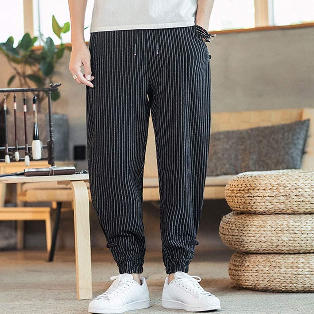 FEDULK Pantalones Harem para Hombre, con Estampado a Rayas ...