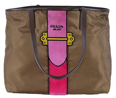 2a37177356d2 Amazon.com  Prada Womens Brown Tessuto Ricamo Shopping Tote Shoulder Bag  Messenger Bag with Pink Velvet Accent Line Leather Trim 1BG065  Shoes