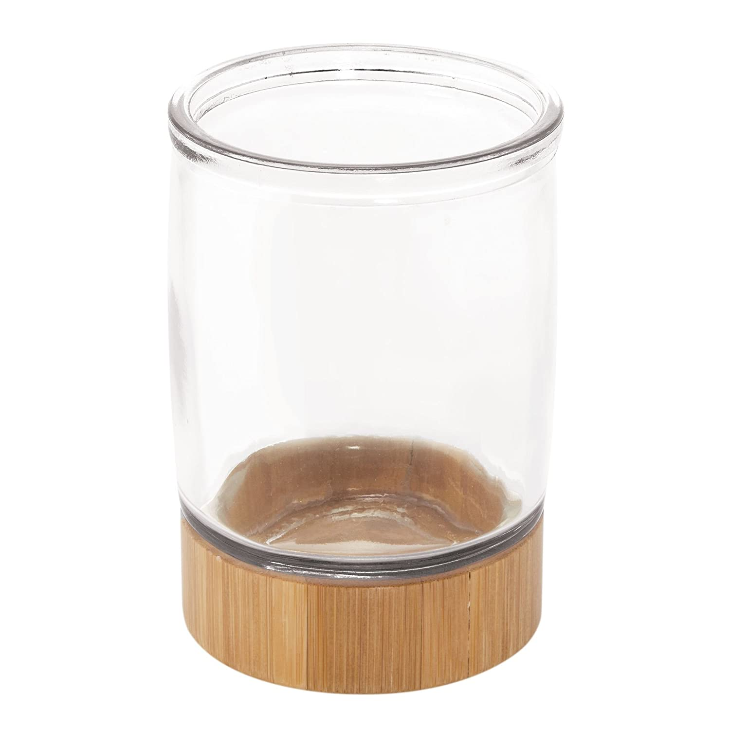 mDesign Glass Bathroom Tumbler - Bathroom Essentials for Rinsing, Drinking or as a Toothbrush Holder - Glass Bathroom Accessories - Clear/Natural MetroDecor Others