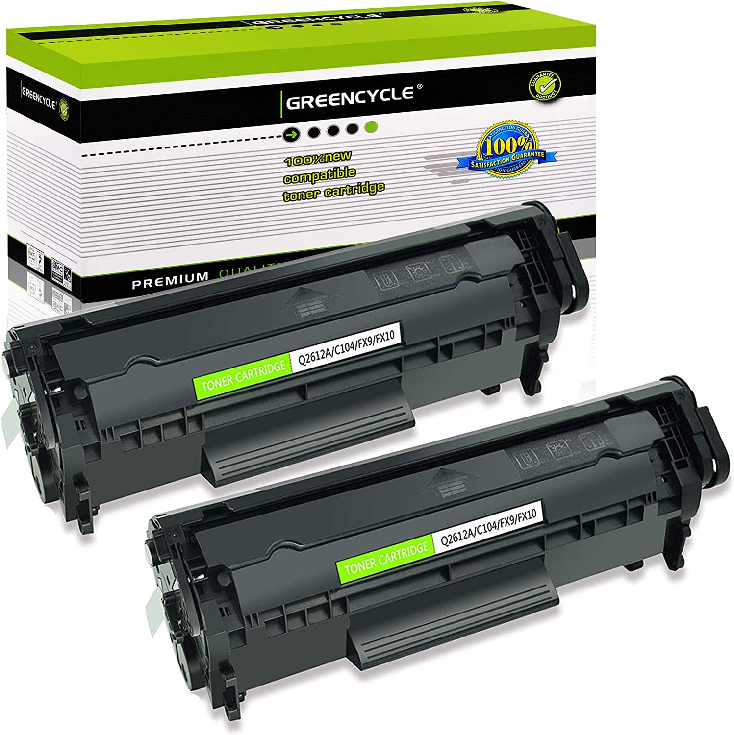 greencycle 2 PK Toner Cartridge Replacement Compatible for HP 12A Q2612A (Black) Laserjet 1010 1012 1018 1020 Printer