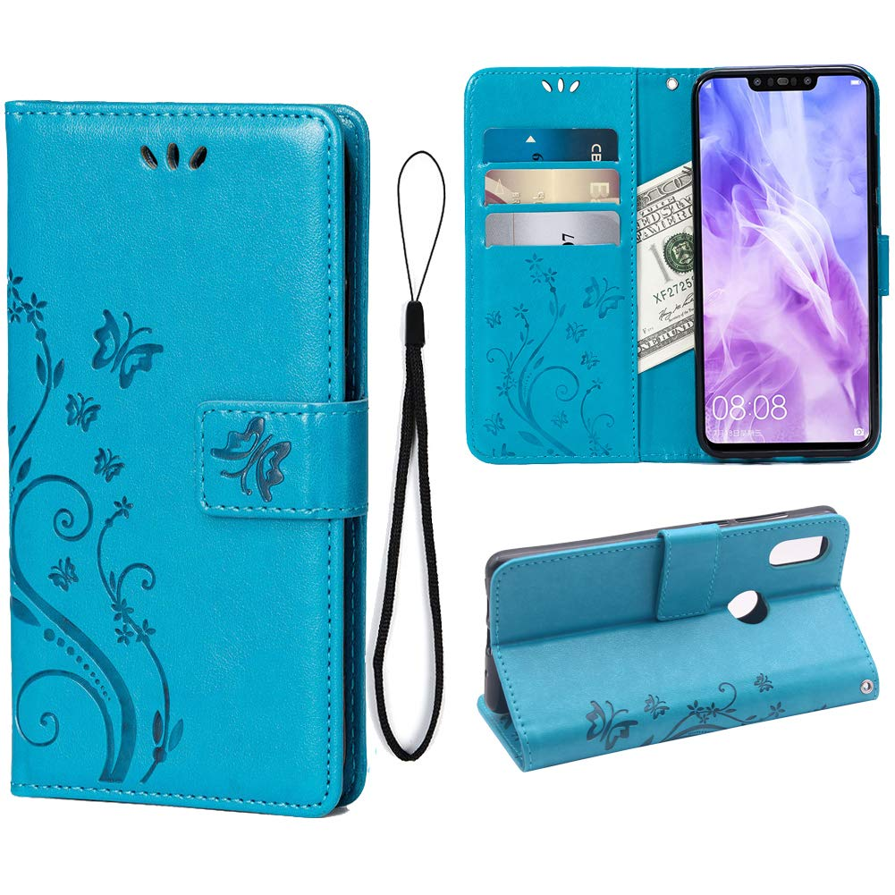 Wallet Case For Huawei Nova 3i P Smart 3 Card Holder Embossed Butterfly Flower Pu Leather