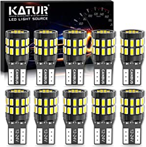 KATUR 194 T10 W5W 168 LED Light Bulb Super Bright 6000K Xenon White 30-SMD 3014 Chips 12-24V CANBUS Error Free LED Bulb Replacement for Car Dome Map Door Courtesy License Plate Light(Upgraded Version)