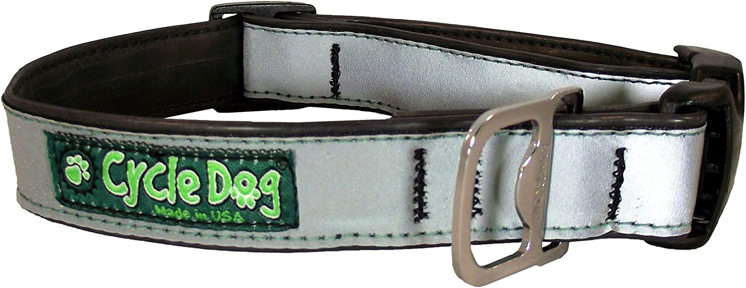 Green Max Reflective Large Cycle Dog Bottle Opener Recycled Dog Collar