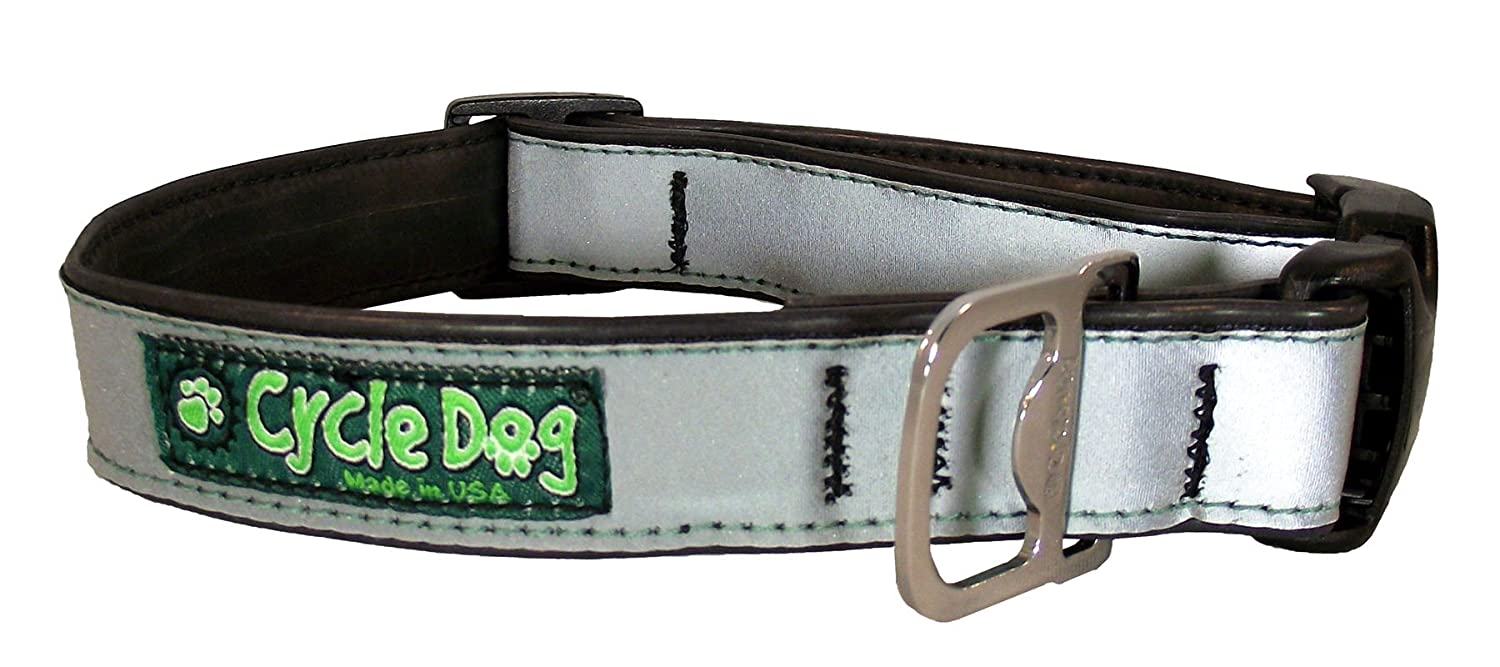 Cycle Dog Bottle Opener Recycled Dog Collar Silver Max Reflective Large