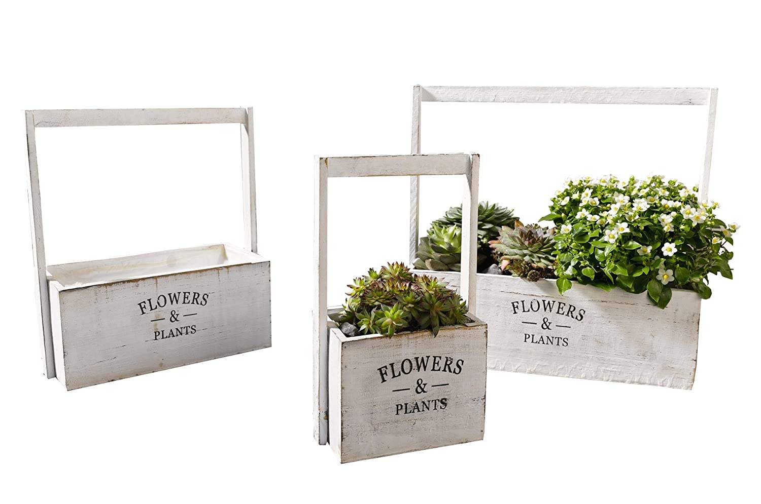 Flowers Plants Painted White Planters for Garden or Patio, Set of Three Product SKU PL221628