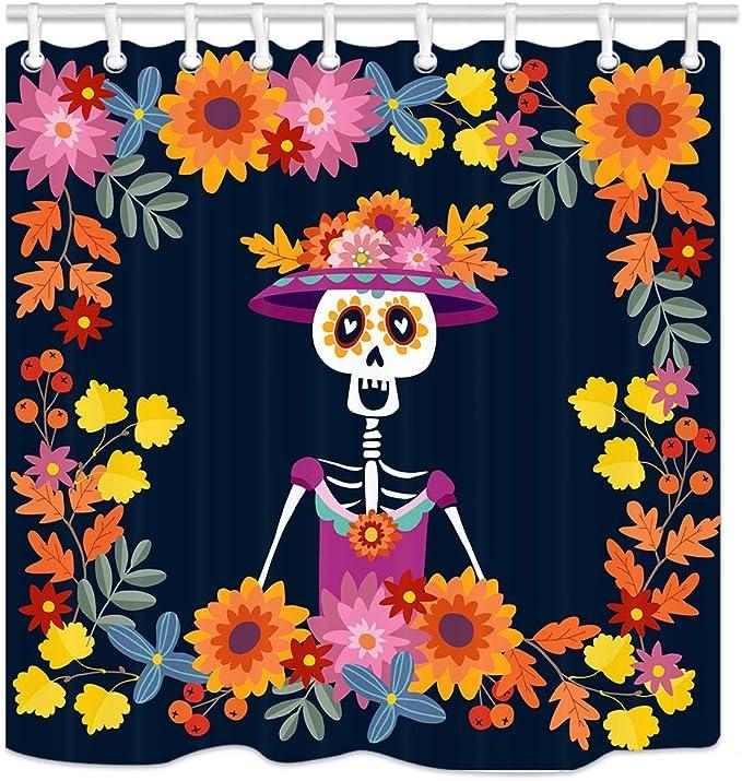 180/x 180/cm kisy impermeable resistente al moho ba/ño cortina de ducha morado flores y mariposas az/úcar calavera poli/éster ba/ño cortina de ducha