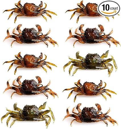 4pcs Fishing Tackle Lifelike Soft Lure Crab Simulation Saltwater Hook Bait Brown