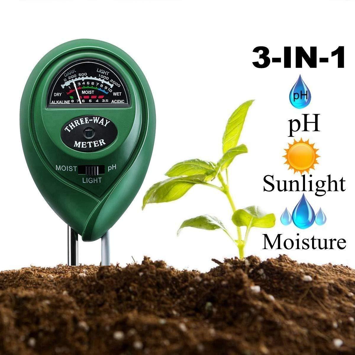 SENRISE PH m/ètre de sol kit de test de sol 3 en 1 pour la lumi/ère et l/'acidit/é du PH pelouse int/érieur et ext/érieur pas besoin de pile kit de test de sol pour jardin ferme