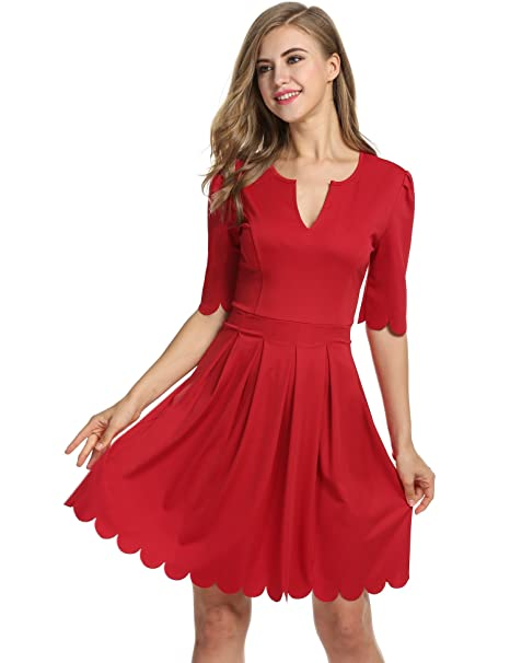 38aceec962d Meaneor Women s 3 4 Sleeve Knit Fit and Flare Evening Party Dress (Red