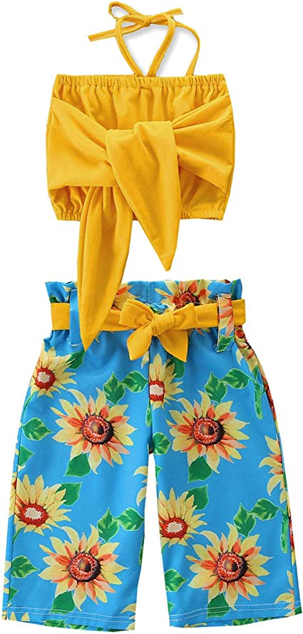 Pantalones Palazzo Plisados Para Nina De 1 A 6t Con Tirantes De Hombro Descubierto Con Diseno Floral 2 Piezas Girasol 2 3t Amazon Com Mx Ropa Zapatos Y Accesorios