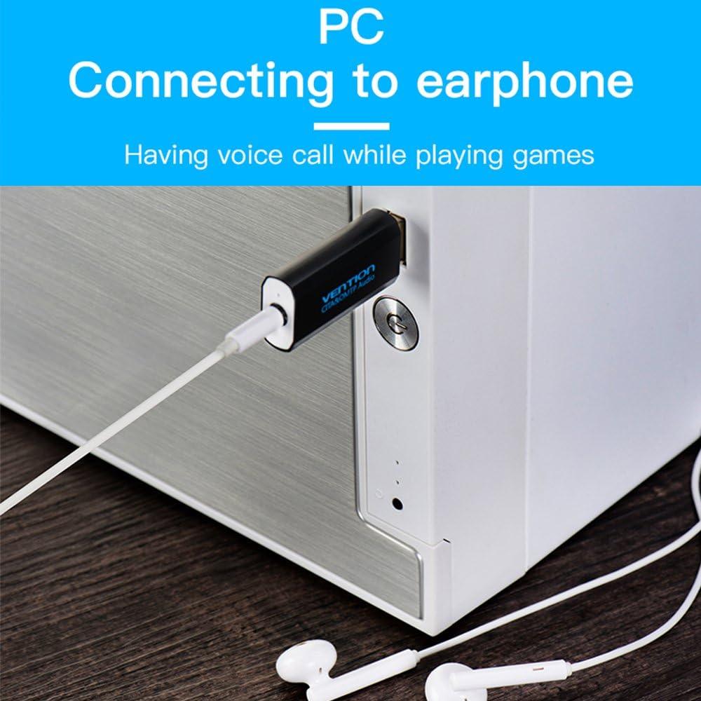 con ingresso AUX stereo da 3,5 mm per cuffie Vention Adattatore USB per scheda audio esterno ecc. PS4 microfono incorporato compatibile con PC fisso o portatile