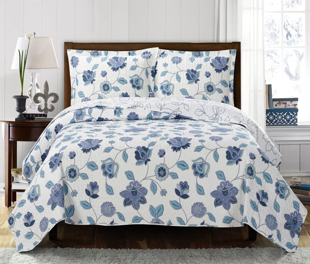 Miranda California-King Size Over-Sized Coverlet 7pc Bedding set Luxury Microfiber Printed Quilt by Royal Hotel