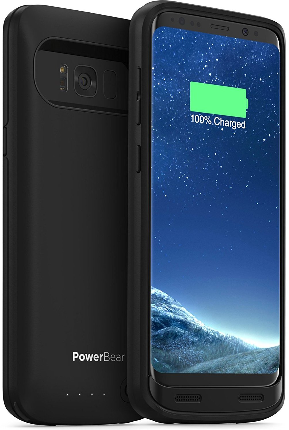 PowerBear Samsung Galaxy S8 Battery Case [4500mAh] High Capacity External Battery Charger for Galaxy S8 (Up to 150% Extra Battery) – BLACK [24 Month Warranty & Screen Protector Included]
