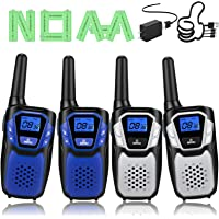 Walkie Talkies Rechargeable, 4 Pack Easy to Use Long Range Walky Talky for Adult Handheld Two Way Radio with NOAA for…