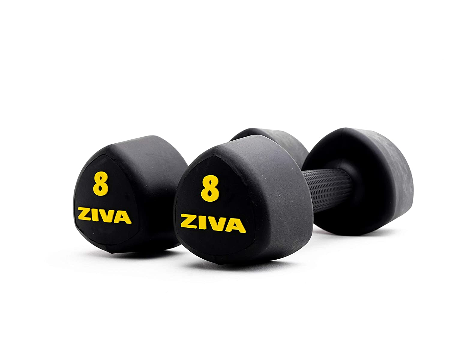 ZIVA EPS Virgin Rubber Steel Tribell Dumbbell Pairs – Multiple Sizes, 2-12 lb Pairs – Exercise Weights for Core and Strength Training – Ergonomic Non-Slip Comfort Grip