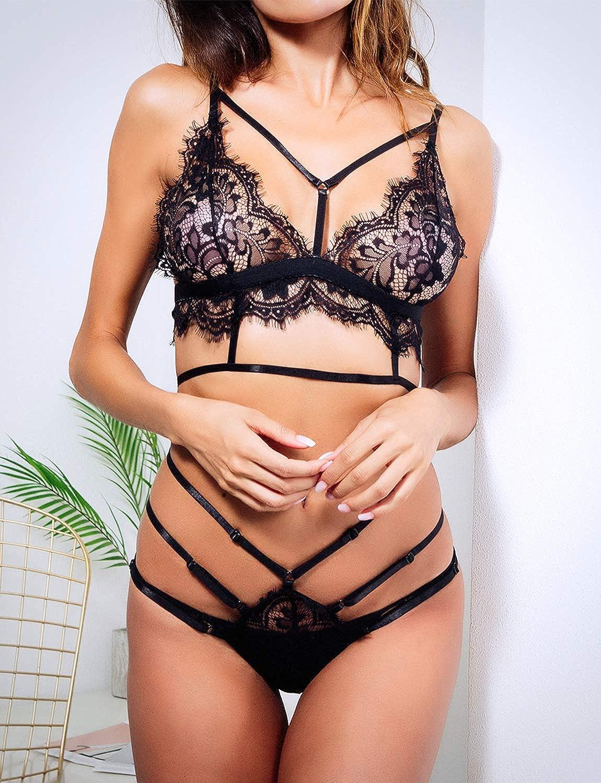 cb55d4992f66a Amazon.com  Women s Lace Bralette Strappy Lingerie Set Bridal Eyelash Bra  Panty Set Valentine s Day Underwear Negligee  Clothing