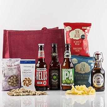 Natures Hampers Cesta de Regalo Cervezas Artesanales Clásicas y Snacks – Caja de Regalo de Cervezas Artesanales
